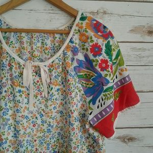 VTG Floral Pattern Dressing Gown Pearl Snap Front